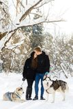 Couple in love in the winter sunny forest with dogs. Couple in love in winter sunny forest with Husky dogs Stock Photos