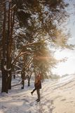 Couple in love in the winter sunny forest. Couple in love in the winter sunny path Stock Photo