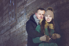 Couple in love in winter Royalty Free Stock Photos