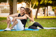 Couple in love working out together Royalty Free Stock Photography