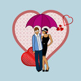 Couple in love. Young couple protected under umbrella with  hearts retro revival Royalty Free Stock Photography