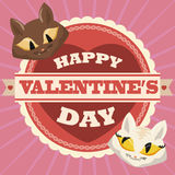 Couple of In-loved Kittens in Valentine's Day Label, Vector Illustration Royalty Free Stock Image