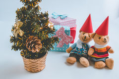 A couple Lovely bear are waiting santa claus with christmas decoration. Christmas party. Stock Photo
