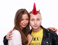 Couple lover. Fashion Punk & Blonde young women royalty free stock photography
