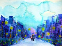 Couple lover model sweet hug kissing in blue city urban background. Watercolor painting illustration design hand drawn Stock Images
