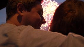 Couple lover watch firework on street closeup cuddle with beauty feeling love 4K. Couple lover watch firework on street closeup, cuddle with beauty feeling love stock video footage