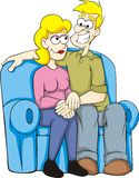 Couple Lovers. A colorful illustration of two lovers sitting on a sofa while holding hands royalty free illustration