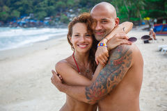 Couple of lovers on the beach Stock Photography