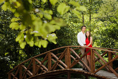 Couple of lovers on the bridge Royalty Free Stock Photography