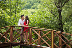 Couple of lovers on the bridge Royalty Free Stock Photo