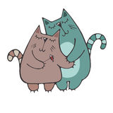 Couple lovers cats. Two lovers cats, cuddling cute with little presents fish Vector Stock Photos