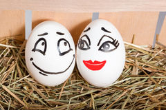 Couple of lovers eggs in the hayloft Stock Photo