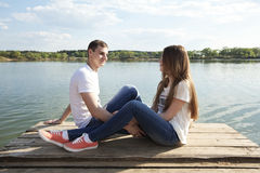 Couple of lovers. Enjoy each other on the nature Royalty Free Stock Photo