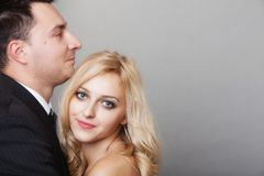 Couple of lovers groom and bride studio shot Royalty Free Stock Photos