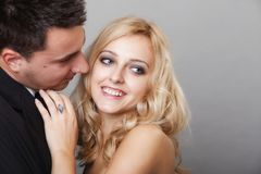 Couple of lovers groom and bride studio shot Royalty Free Stock Image