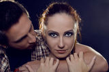 Couple of lovers. The guy holding the girl's neck, hugging her t Royalty Free Stock Image