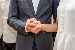 Couple of lovers hold hands. Elegance Royalty Free Stock Images