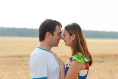 Couple of lovers hugging outdoors. Stock Images
