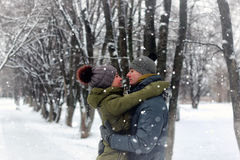 Couple lovers kiss winter street royalty free stock photo