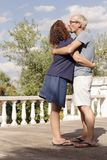 Couple of lovers in loving attitude. Romantic couple with positive attitude and lovers royalty free stock photography
