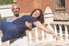 Couple of lovers in loving attitude. Romantic couple with positive attitude and lovers stock image