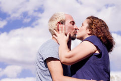 Couple of lovers in loving attitude. Romantic couple with positive attitude and lovers royalty free stock images