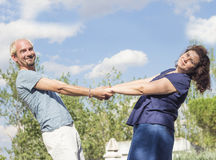 Couple of lovers in loving attitude. Romantic couple with positive attitude and lovers royalty free stock photo