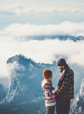 Couple lovers Man and Woman hugging mountains Stock Photography