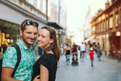 Couple of Lovers in Old Town Center of Ljubljana, Slovenia. Stock Photo