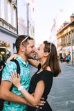 Couple of Lovers in Old Town Center of Ljubljana, Slovenia. Royalty Free Stock Photo