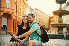 Couple of Lovers in Old Town Center of Ljubljana, Slovenia. Royalty Free Stock Photos