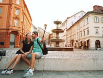 Couple of Lovers in Old Town Center of Ljubljana, Slovenia. Royalty Free Stock Photography
