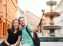 Couple of Lovers in Old Town Center of Ljubljana, Slovenia. Royalty Free Stock Image
