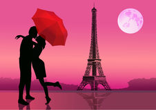 Couple of lovers in Paris at night, Moon on background. Vector illustration. Couple in love under red umbrella, in Paris. With the Eiffel Tower and moon on Stock Photography