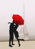 Couple of lovers in Paris, vector Stock Images