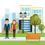 Couple of lovers in the park stock illustration