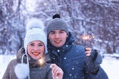 Couple lovers with sparklers happiness Royalty Free Stock Photography