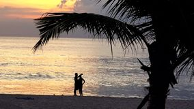 Couple lovers taking selfie pictures on exotic beach at sunset. UHD 4K stock video footage