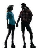 Couple lovers  trekker trekking nature silhouette Stock Image
