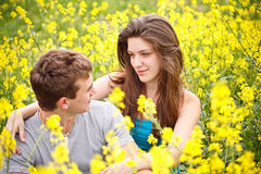 Couple loving each other in nature Stock Photos