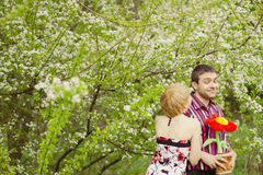 Couple loving each other posing outdoor Stock Photo