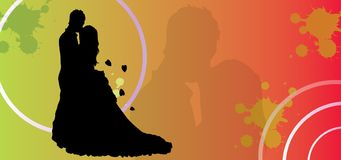Couple loving eps, valentine day vector silhouette romance kiss wedding couples in love background. Here you see a couple loving eps and jpg. Vector silhouette Stock Image