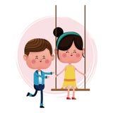 Couple loving pushing girl swing Royalty Free Stock Photography
