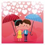 Couple loving umbrella rain heart background Royalty Free Stock Photo