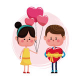 Couple loving valentine day and balloons choclate box heart shape Royalty Free Stock Image