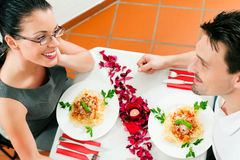 Couple at lunch or dinner Royalty Free Stock Image