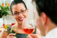 Couple at lunch or dinner Royalty Free Stock Photos