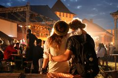 Couple. LUTSK, UKRAINE - 29 June 2008: Young couple relaxing at a open-air music festival Royalty Free Stock Photo