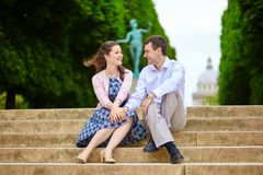 Couple in the Luxembourg garden of Paris Royalty Free Stock Photo