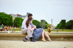 Couple in the Luxembourg garden of Paris Royalty Free Stock Image